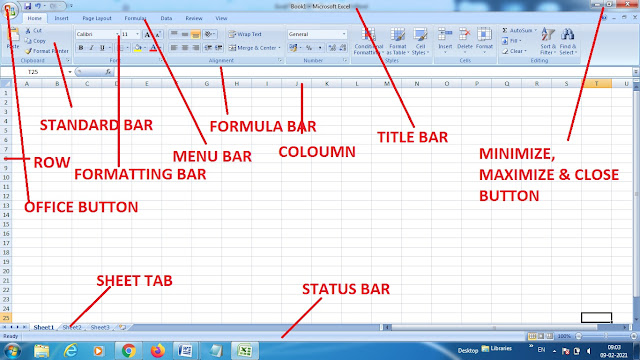 Name the Parts of Ms Excel Windows and its Components in Hindi