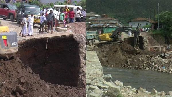 News, Kerala, Idukki, Munnar, Road, Flood, National Park, Bridge, Pillar, Collapsed, Traffic Across a Temporary Bridge was Banned