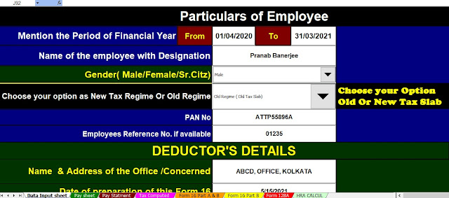 Automated Income Tax Calculator for the Non-Govt Employees for the F.Y.2020-21