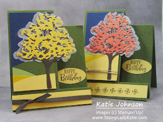 Fall Step Card made with Stampin'Up! Beautiful Trees dies, Basic Border Dies and Stitched Greenery Die.