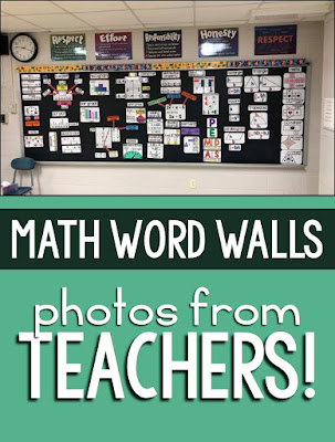 Here are a bunch of classroom math word wall photos shared by Teachers!
