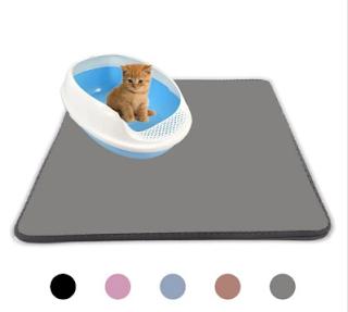 Waterproof Pet Cat Litter Mat EVA Double-Layer Cat Litter Mats Feeding Non-slip Litter Floor Pad - Gray 55x75cm