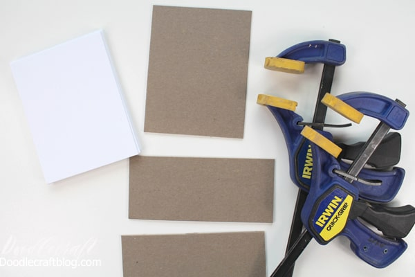 Cut chipboard and paper the same size to make a notepad.