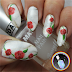 Marble and Red Roses Nail Art