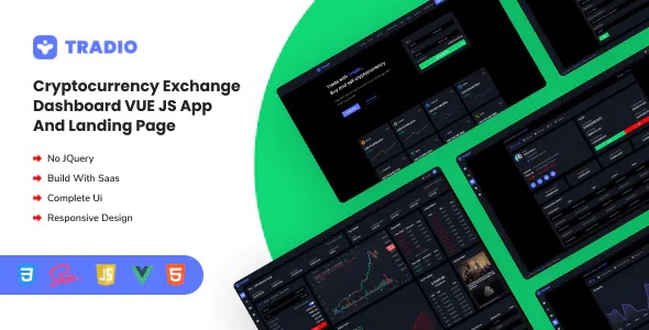 Best Cryptocurrency Exchange Vue App Dashboard and Landing Page