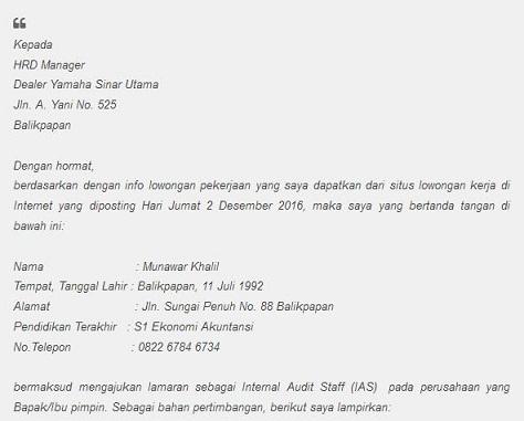 Inilah Contoh Surat Lamaran Untuk Kerja Di Dealer Motor So