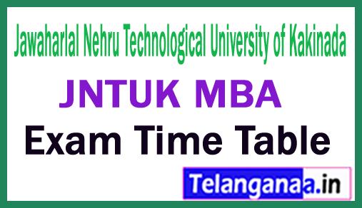 Jawaharlal Nehru Technological University of Kakinada MBA Exam Time Table