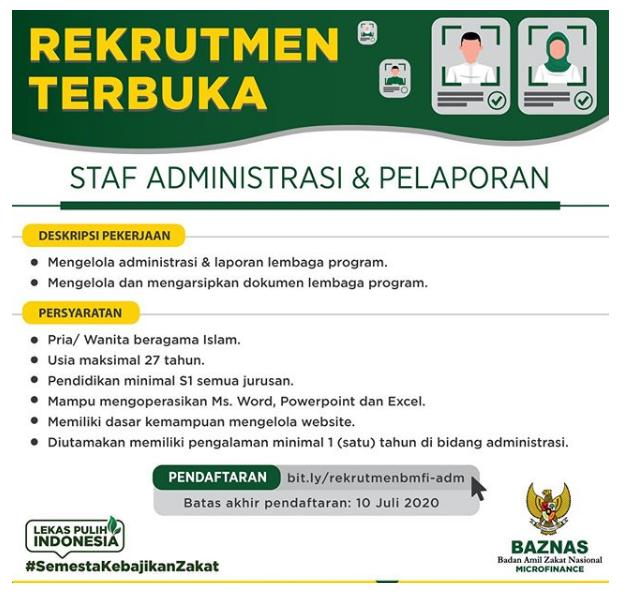 Lowongan Kerja Staf BAZNAS Microfinance Bulan Juli 2020