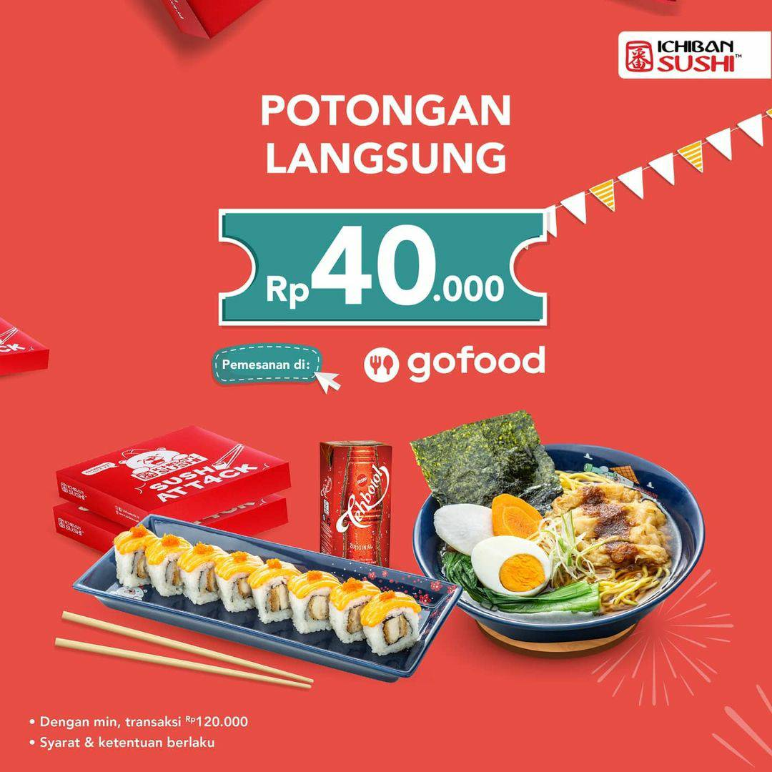 Ichiban Sushi Promo Potongan Rp 40.000 Khusus pemwsanan via GOFOOD