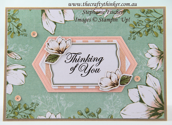 #thecraftythinker #stampinup #magnolialane #cardmaking #sneakpeek2019annualcatalogue , Magnolia Lane Memories & More greeting card, Sneak Peek, 2019 annual catalogue, Stampin' Up Australia Demonstrator, Stephanie Fischer, Sydney NSW