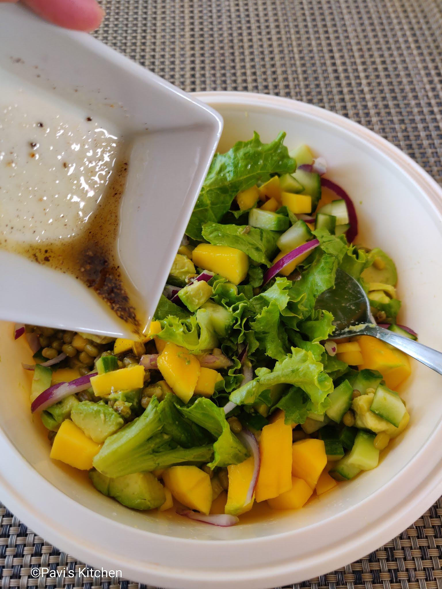 Boiled green moong dal salad   green mung bean salad   green gram salad recipe
