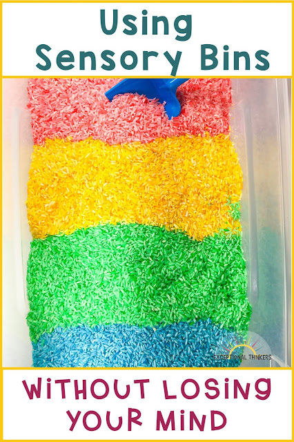 "Colored rice sensory bin with title ""Using Sensory Bins Without Losing Your Mind"". sensory bin tips"