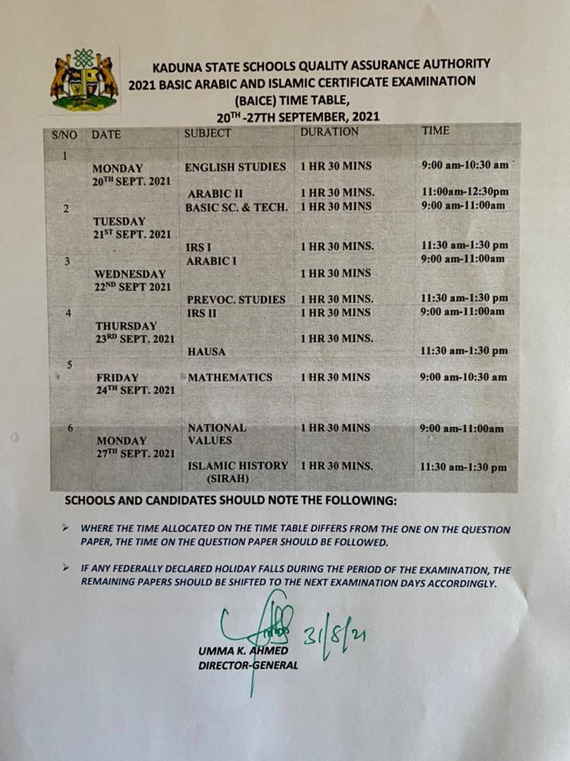 Kaduna State BAICE Timetable [20th - 27th September 2021]