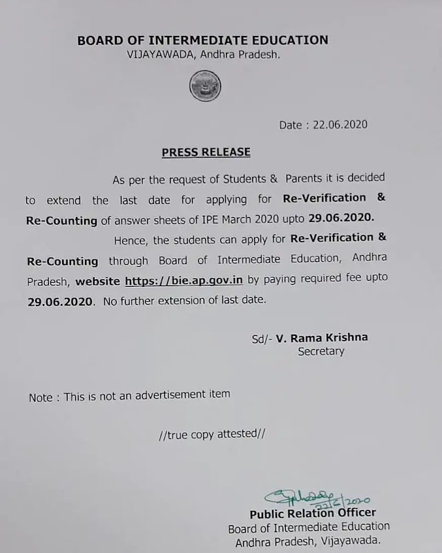 AP-intermediate recounting date extended