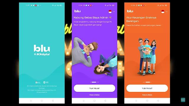Download aplikasi blu melalui Play Store atau App Store