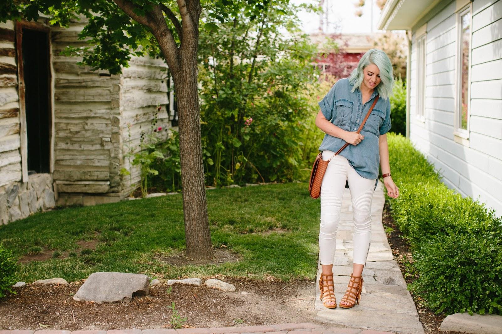 Summer Outfit, Utah Fashion Blogger, Denim Shirt