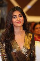 Pooja Hegde looks glamarous in deep neck sleevless short tight golden gown at Duvvada Jagannadham thank you meet function 127.JPG