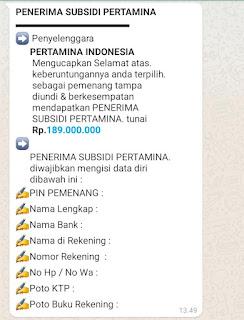 Hati-hati!!! SMS Penipuan Atas Nama Subsidi Pertamina Rp. 189 Juta