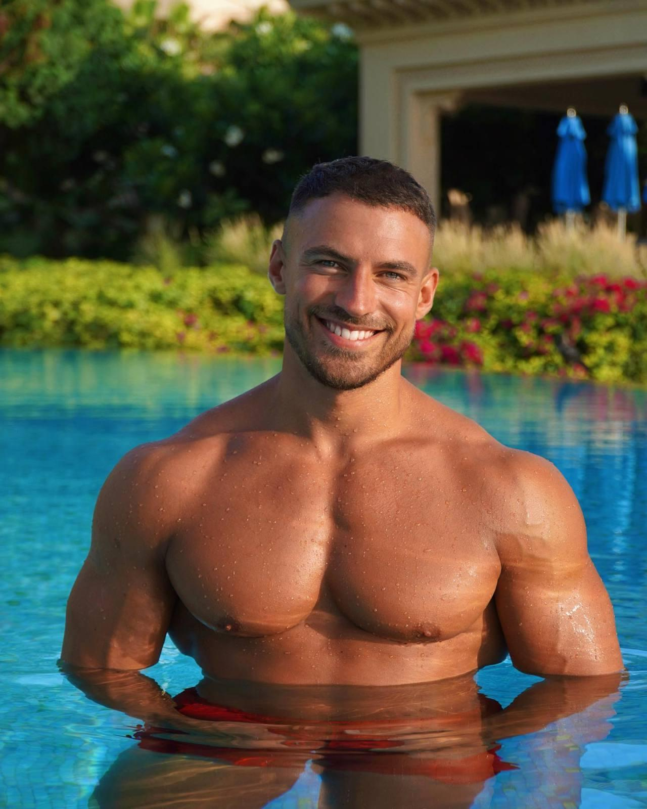 sexy-handsome-masculine-daddy-mike-thurston-muscle-pecs-wet-body-pool-hunk-smiling