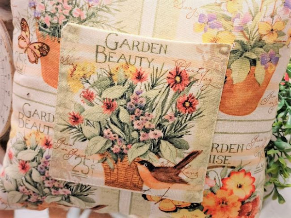 Pretty Garden Pillow with a Pocket for Flowers