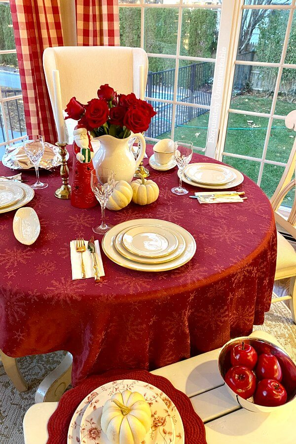Cottage Style Table Setting For The Holidays