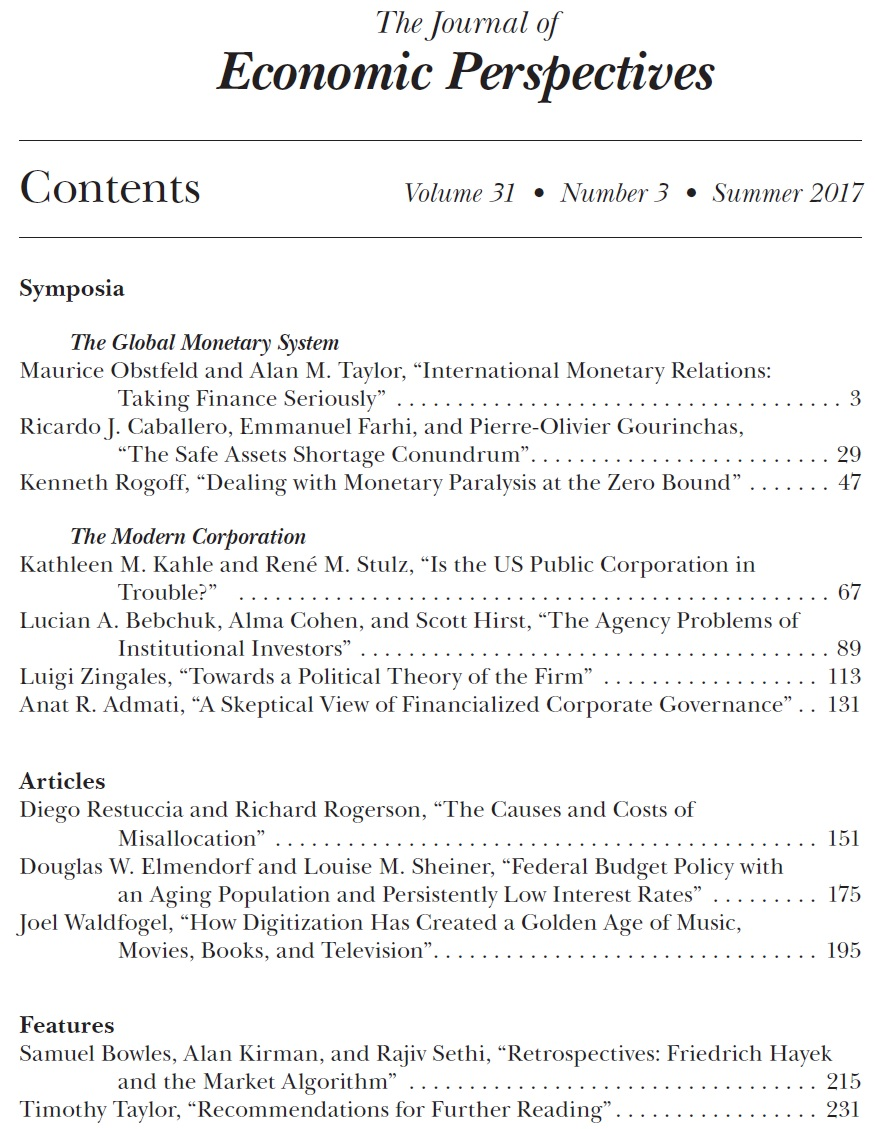 Economist's View: Summer 2017 Journal of Economic Perspectives