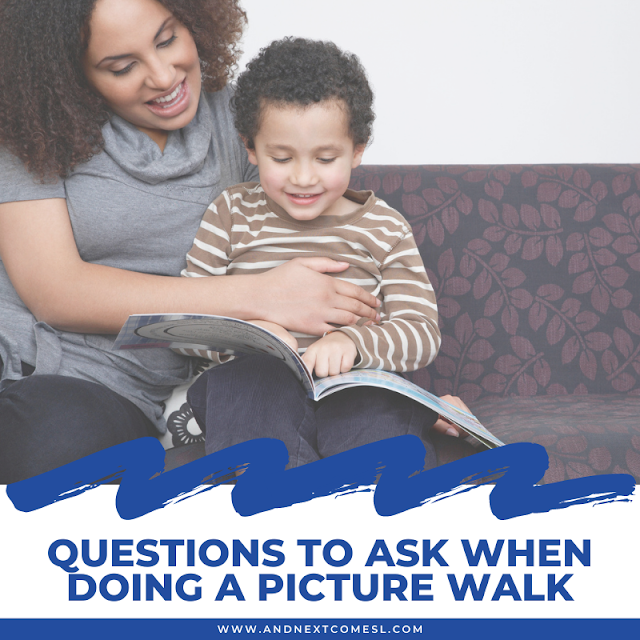 Questions o ask when doing the picture walk reading strategy with kids