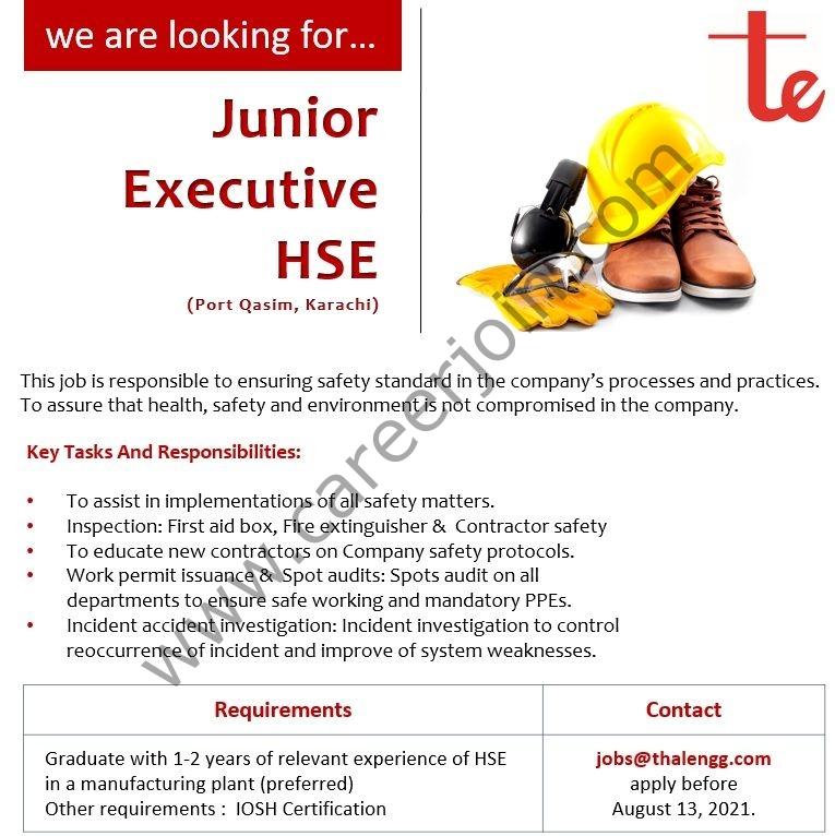 Thal Engineering Jobs Junior Executive HSE