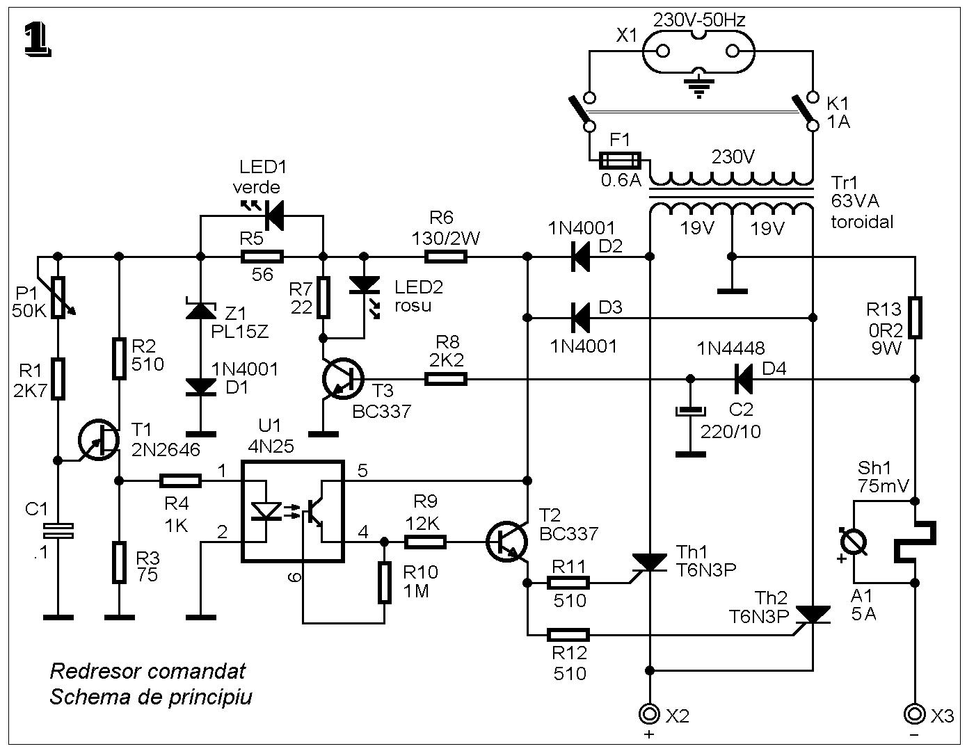 Scheme Electronice Si Circuite Redresor Comandat Cu Tristoare