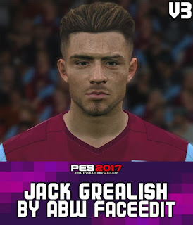 PES 2017 Faces Jack Grealish by ABW_FaceEdit