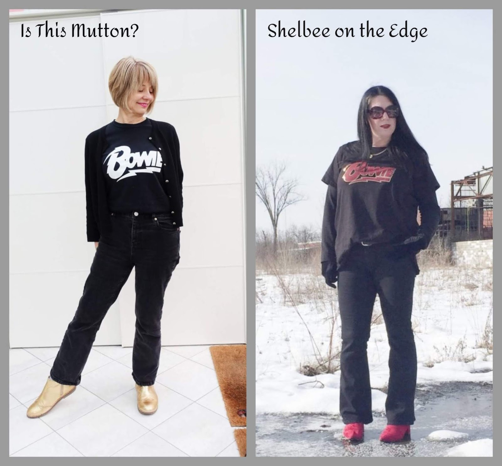 Two bloggers, similar outfit: take one Bowie tee and add jeans and boots
