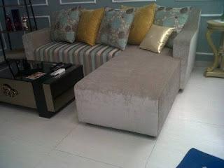 ganti kain sofa L shape di bekasi