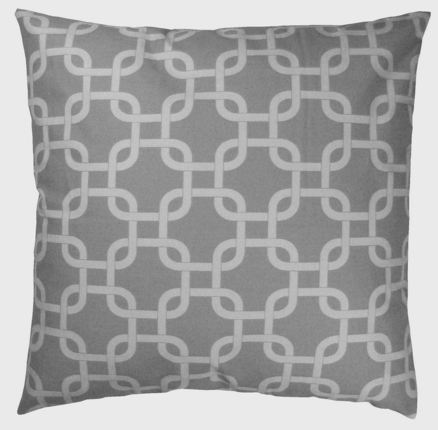 Decorative Throw Pillow Cover (Grey & White, Square, 1 Cushion Sham for 18 x 18 Inserts)