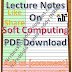 Lecture Notes on Soft Computing PDF Download