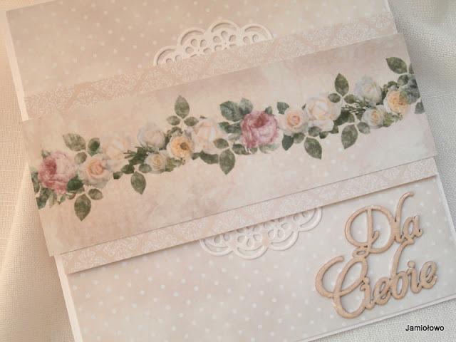 kartka z pięknym motywem różanym