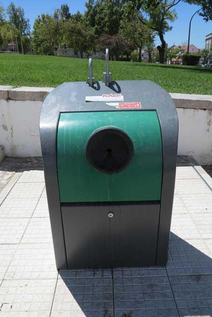 Glass recycling bin.