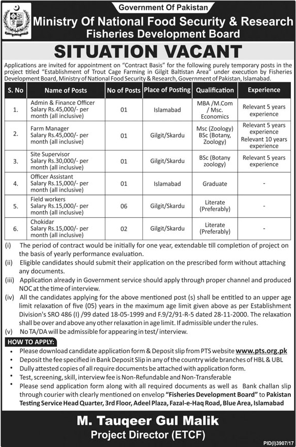 Jobs In Ministry Of National Food And Security Research Islamabad January 2018