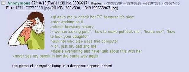 4chan greentext about fixing family members computers