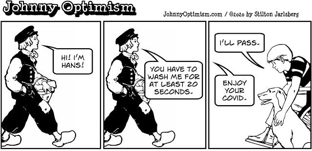 johnny optimism, medical, humor, sick, jokes, boy, wheelchair, doctors, hospital, stilton jarlsberg, hans, dutch, wash hands, coronavirus