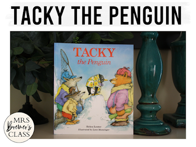 Tacky the Penguin book study winter literacy unit with Common Core aligned companion activities and a craftivity for K-1