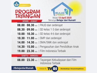 Jadwal Lengkap Belajar dari Rumah Tingkat PAUD, SD, SMP dan SMA yang Tayang di TVRI