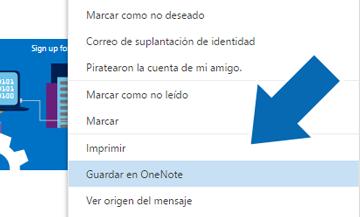 Como guardar un correo en OneNote - OneDrive