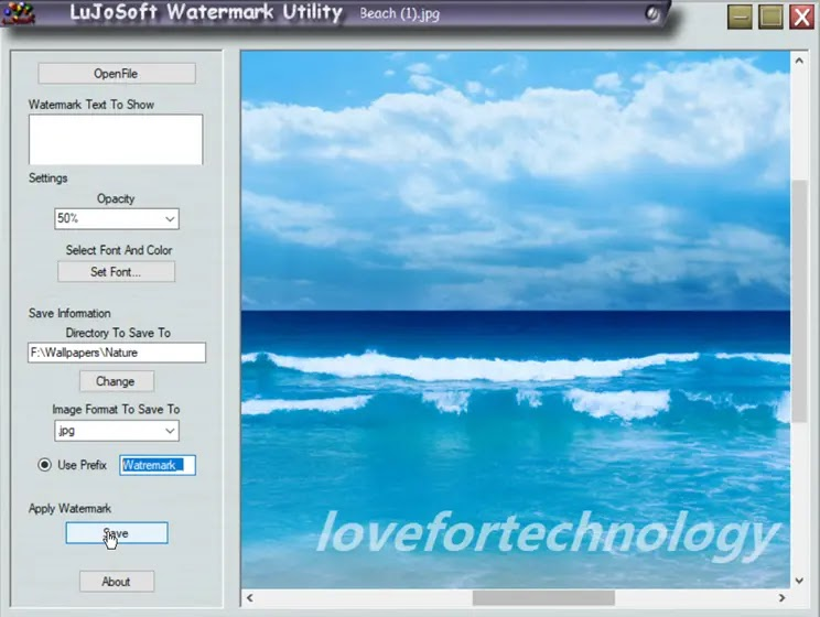 LujoSoft Watermark Utility :  Ο εύκολος τρόπος για να προσθέσετε υδατογράφημα στις εικόνες σας