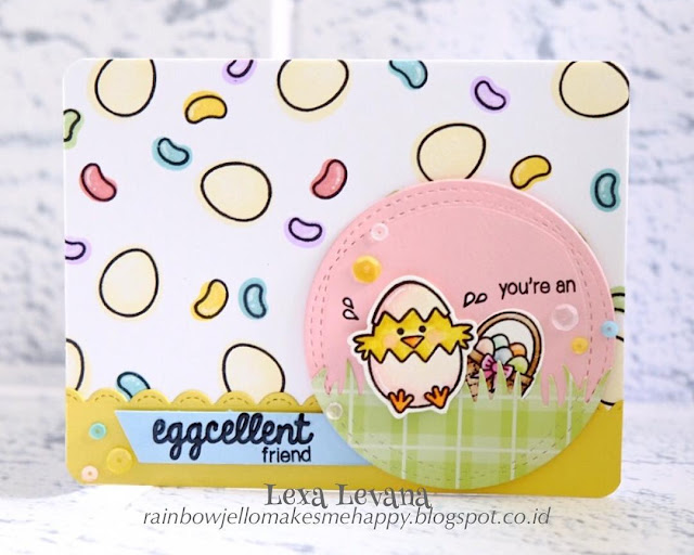 Sunny Studio Stamps: A Good Egg Easter Chick & Jellibeans Card by Lexa Levana