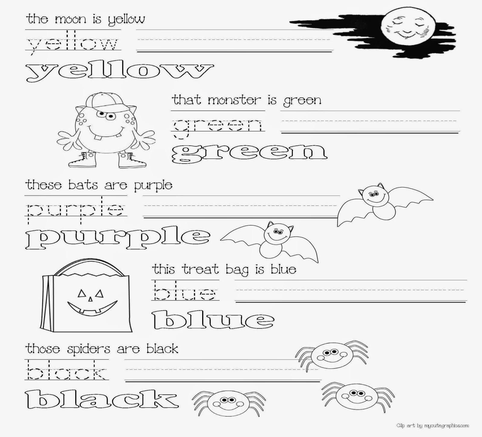 Classroom Freebies Common Core Halloween Colors Activity