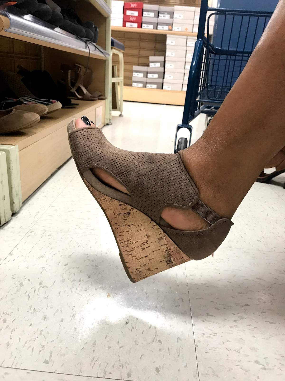 Image: tangie Bell Trying on shoes to buy from Marshall's store. Seen first on Bits and Babbles blog