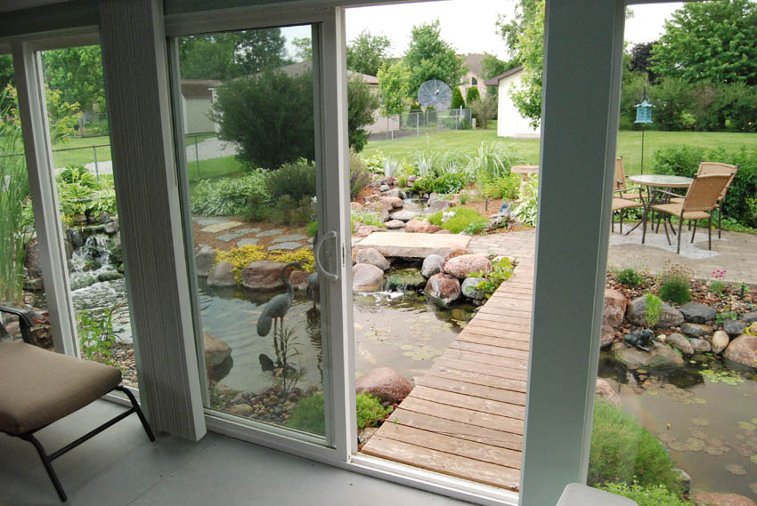 Aquascape your landscape what 39 s outside your window for Sliding glass doors garden