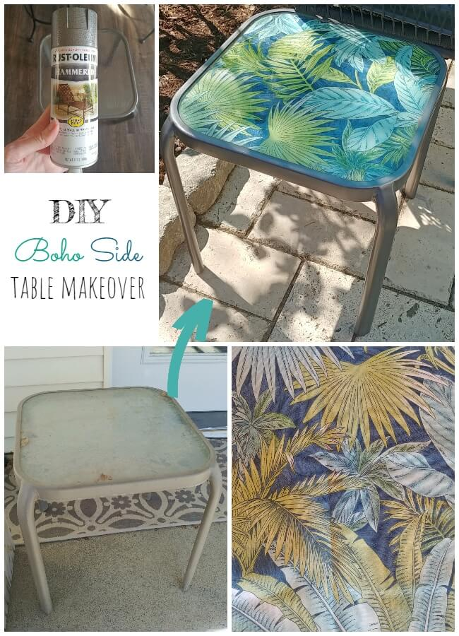 DIY Boho Patio Side Table Makeover