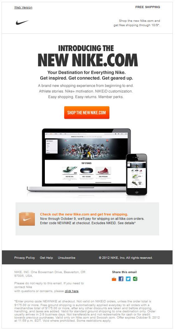 Tristemente maestría Nube  AM Inbox: NikeStore email redesign favors smartphones | Oracle ...