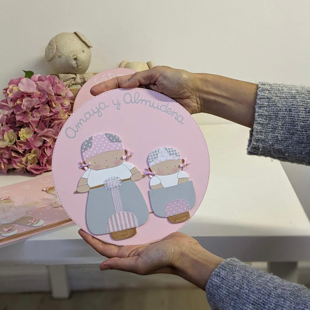 placa puerta infantil personalizada hermanas